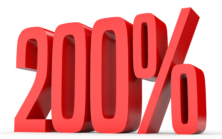 volume discount: Two hundred percent. 200 %. 3d illustration on white background. Stock Photo