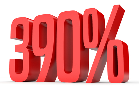 Three hundred and ninety percent. 390 %. 3d illustration on white background. Stock Photo