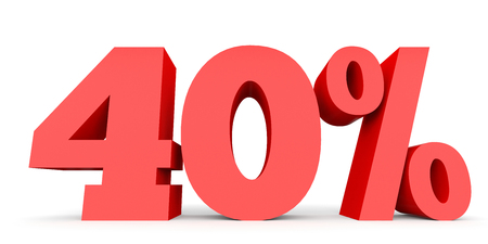 40: Forty percent off. Discount 40 %. 3D illustration on white background. Stock Photo