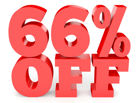 percentage: Sixty six percent off. Discount 66 %. 3D illustration on white background.