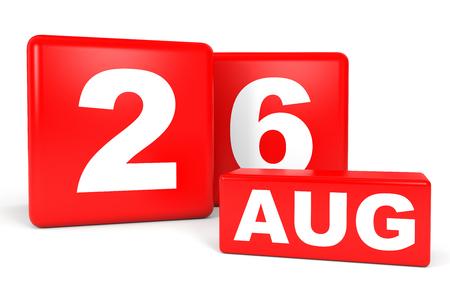 August 26. Calendar on white background. 3D illustration. Stock Photo