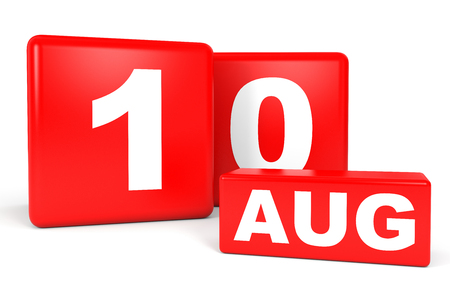 10th: August 10. Calendar on white background. 3D illustration.