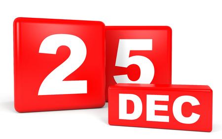 December 25. Calendar on white background. 3D illustration.