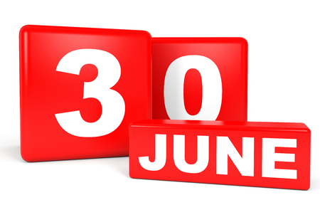 June 30. Calendar on white background. 3D illustration.