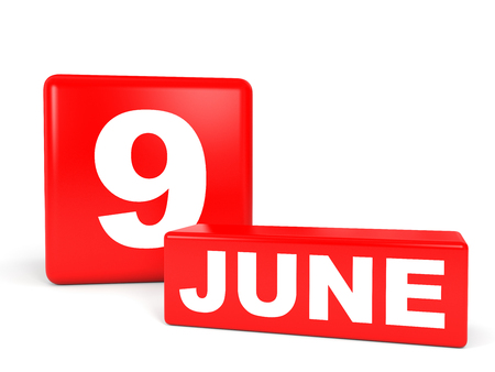 9th: June 9. Calendar on white background. 3D illustration.