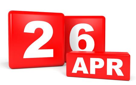 April 26. Calendar on white background. 3D illustration. Stock Photo