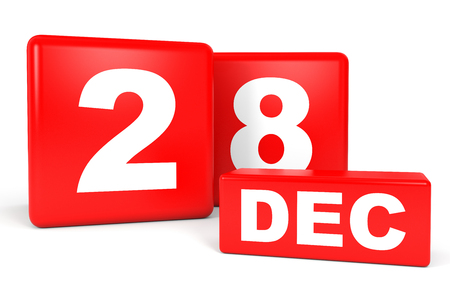December 28. Calendar on white background. 3D illustration.