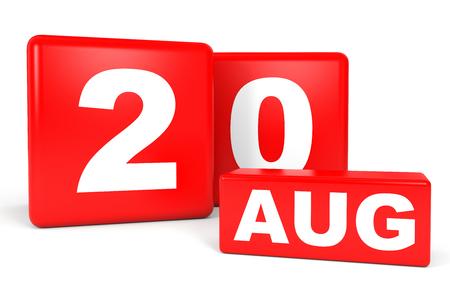 20th: August 20. Calendar on white background. 3D illustration.