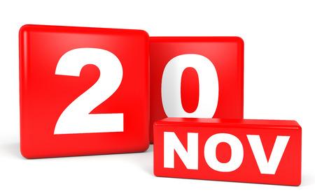 November 20. Calendar on white background. 3D illustration.