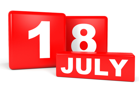 July 18. Calendar on white background. 3D illustration. Stock Photo
