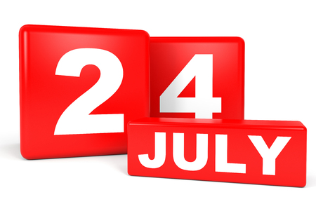 July 24. Calendar on white background. 3D illustration.