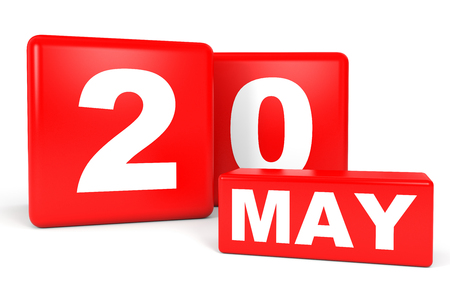 May 20. Calendar on white background. 3D illustration.