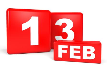 13th: February 13. Calendar on white background. 3D illustration. Stock Photo