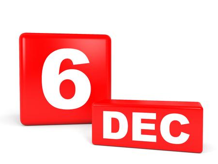 12 月 6 日。白い背景のカレンダーです。3 D イラスト。