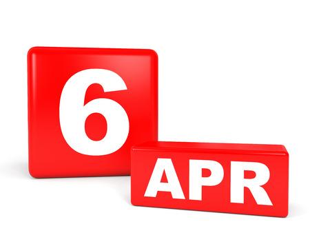 4 月 6 日。白い背景のカレンダーです。3 D イラスト。