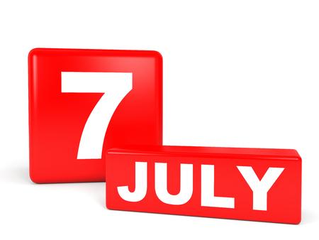 July 7. Calendar on white background. 3D illustration.