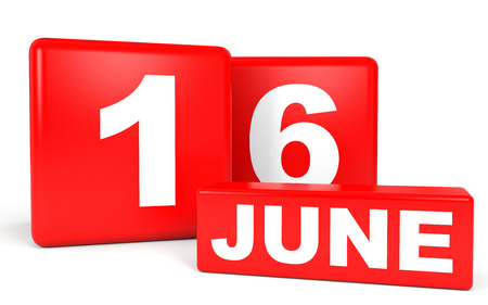 sixteenth note: June 16. Calendar on white background. 3D illustration.