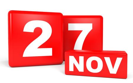 27: November 27. Calendar on white background. 3D illustration.