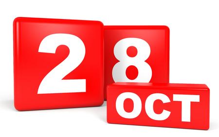 calendario octubre: October 28. Calendar on white background. 3D illustration. Foto de archivo