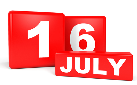sixteenth note: July 16. Calendar on white background. 3D illustration. Stock Photo