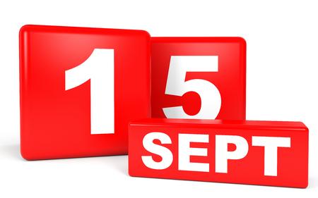 September 15. Calendar on white background. 3D illustration. Stock Photo