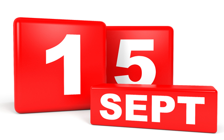 reminder: September 15. Calendar on white background. 3D illustration. Stock Photo