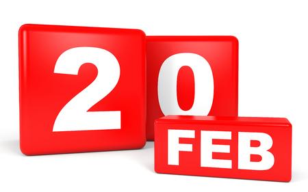 february calendar: February 20. Calendar on white background. 3D illustration.