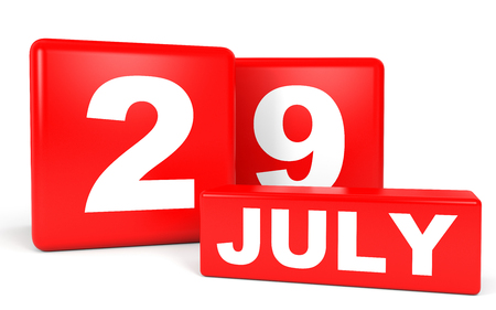 ninth: July 29. Calendar on white background. 3D illustration.