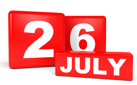 twenty sixth: July 26. Calendar on white background. 3D illustration. Stock Photo