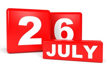 July 26. Calendar on white background. 3D illustration. Stock Photo