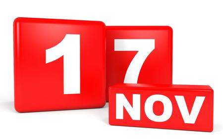 seventeenth: November 17. Calendar on white background. 3D illustration. Stock Photo