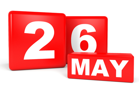 twenty sixth: May 26. Calendar on white background. 3D illustration.