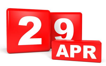 April 29. Calendar on white background. 3D illustration. Stock Photo
