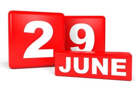 twenty ninth: June 29. Calendar on white background. 3D illustration.