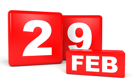 twenty ninth: February 29. Calendar on white background. 3D illustration.