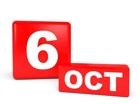 10 月 6 日。白い背景のカレンダーです。3 D イラスト。 写真素材