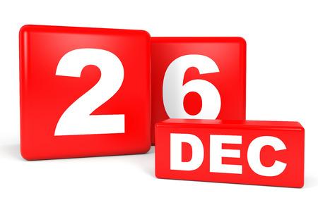 twenty sixth: December 26. Calendar on white background. 3D illustration. Stock Photo
