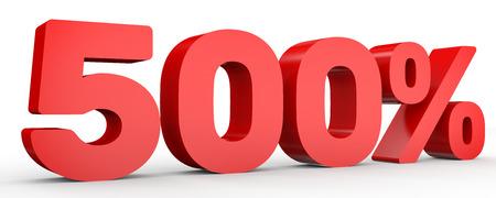 Five hundred percent. 500 %. 3d illustration on white background.