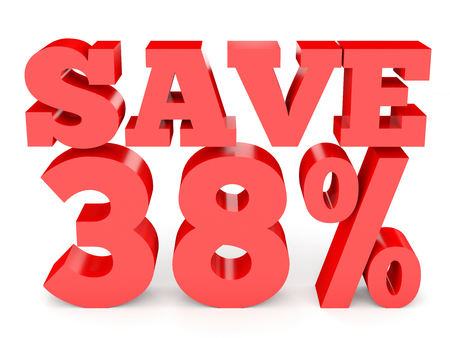 Thirty eight percent off. Discount 38 %. 3D illustration on white background.