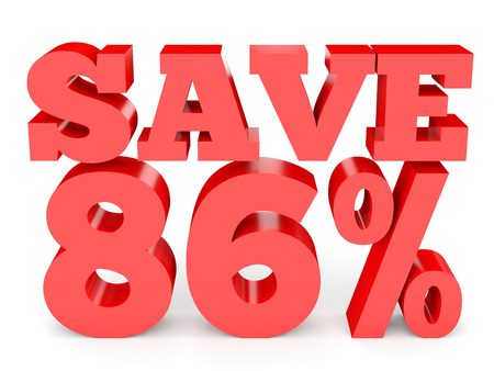 Eighty six percent off. Discount 86 %. 3D illustration on white background.