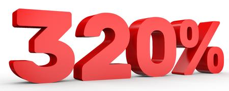 Three hundred and twenty percent. 320 %. 3d illustration on white background. Stock Photo