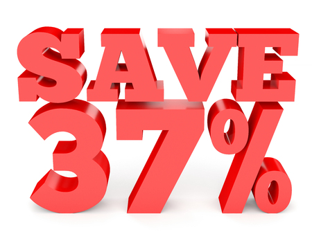 thirty percent off: Thirty seven percent off. Discount 37 %. 3D illustration on white background. Stock Photo