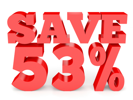 perdidas y ganancias: Fifty three percent off. Discount 53 %. 3D illustration on white background.