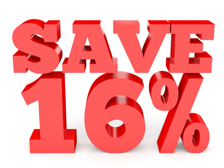 Sixteen percent off. Discount 16 %. 3D illustration on white background. Stock Photo