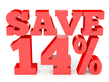 Fourteen percent off. Discount 14 %. 3D illustration on white background. Stock Photo