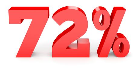 72 % 할인. 72 % 할인. 흰색 배경에 3D 그림입니다. 스톡 콘텐츠
