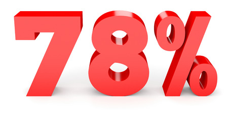 seventy: Seventy eight percent off. Discount 78 %. 3D illustration on white background. Stock Photo