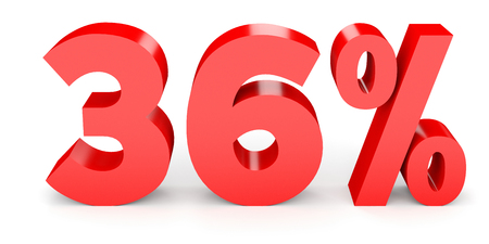 36 6: Thirty six percent off. Discount 36 %. 3D illustration on white background. Stock Photo