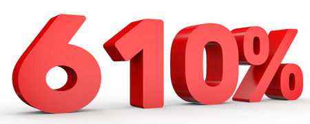 Six hundred and ten percent. 610 %. 3d illustration on white background. Banco de Imagens