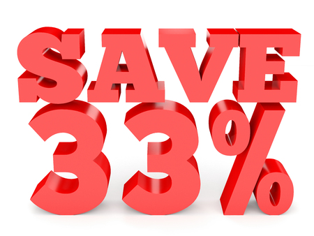 thirty percent off: Thirty three percent off. Discount 33 %. 3D illustration on white background. Stock Photo